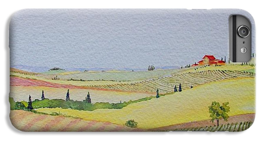 Watercolor IPhone 7 Plus Case featuring the painting Tuscan Hillside Three by Mary Ellen Mueller Legault