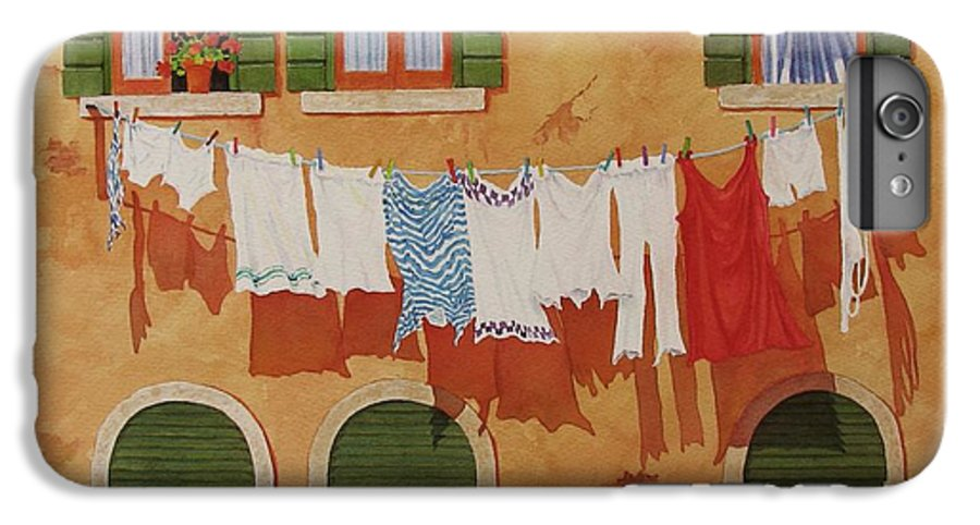 Venice IPhone 7 Plus Case featuring the painting Venetian Washday by Mary Ellen Mueller Legault
