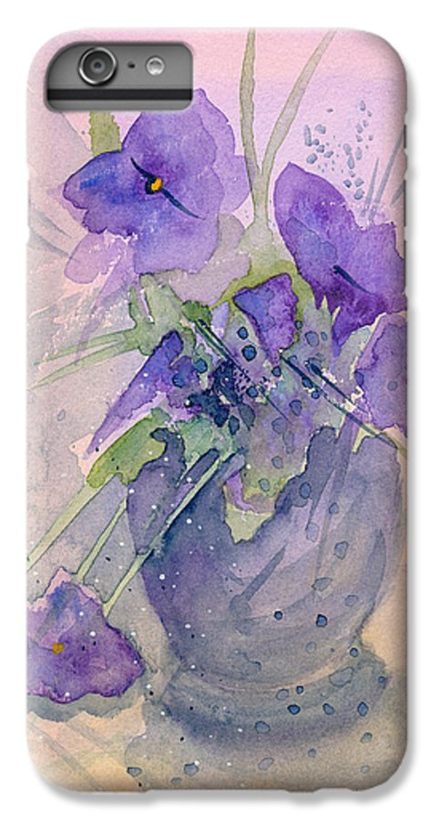 Purple IPhone 7 Plus Case featuring the painting Violets by Christina Rahm Galanis