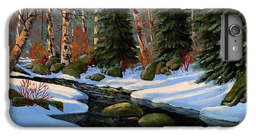 Landscape IPhone 7 Plus Case featuring the painting Winter Brook by Frank Wilson