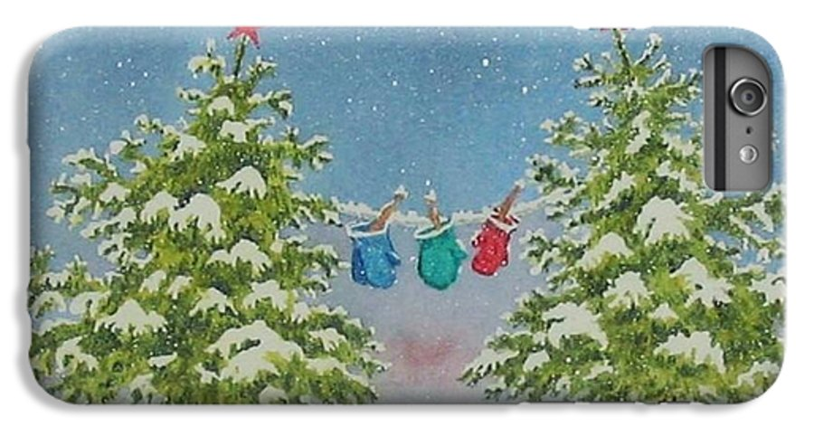 Fun IPhone 7 Plus Case featuring the painting Winter Is Fun by Mary Ellen Mueller Legault