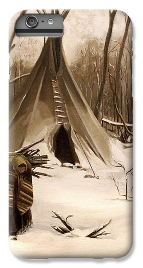 Native American IPhone 7 Plus Case featuring the painting Wood Gatherer by Nancy Griswold