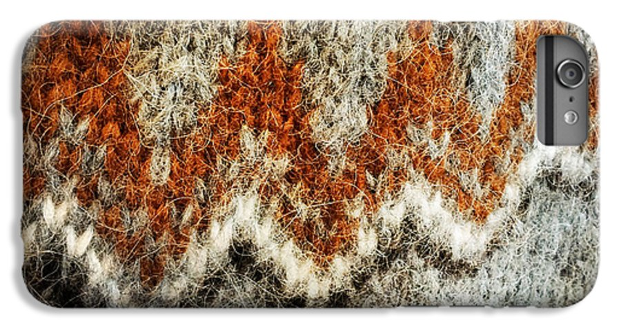 Wool IPhone 7 Plus Case featuring the photograph Woolen Jersey detail grey and orange by Matthias Hauser