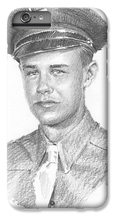 <a Href=http://miketheuer.com>www.miketheuer.com</a> Wwii Military Dad Pencil Portrait IPhone 7 Plus Case featuring the drawing Wwii Military Dad Pencil Portrait by Mike Theuer