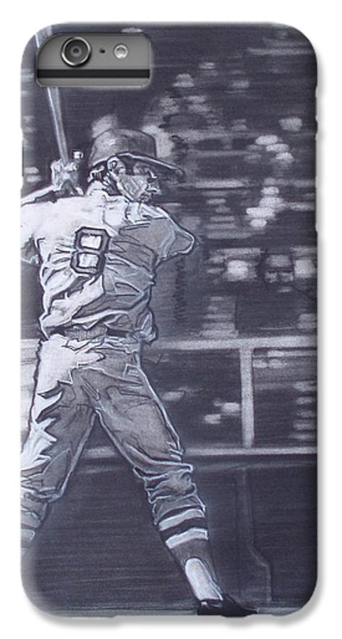 Charcoal IPhone 7 Plus Case featuring the drawing Yaz - Carl Yastrzemski by Sean Connolly