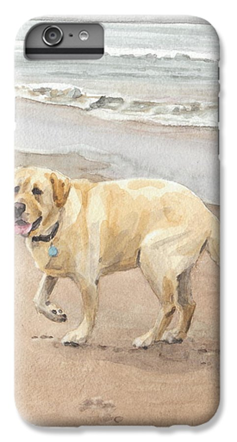 <a Href=http://miketheuer.com Target =_blank>www.miketheuer.com</a> Yellow Lab On Beach Watercolor Portrait IPhone 7 Plus Case featuring the drawing Yellow Lab On Beach Watercolor Portrait by Mike Theuer