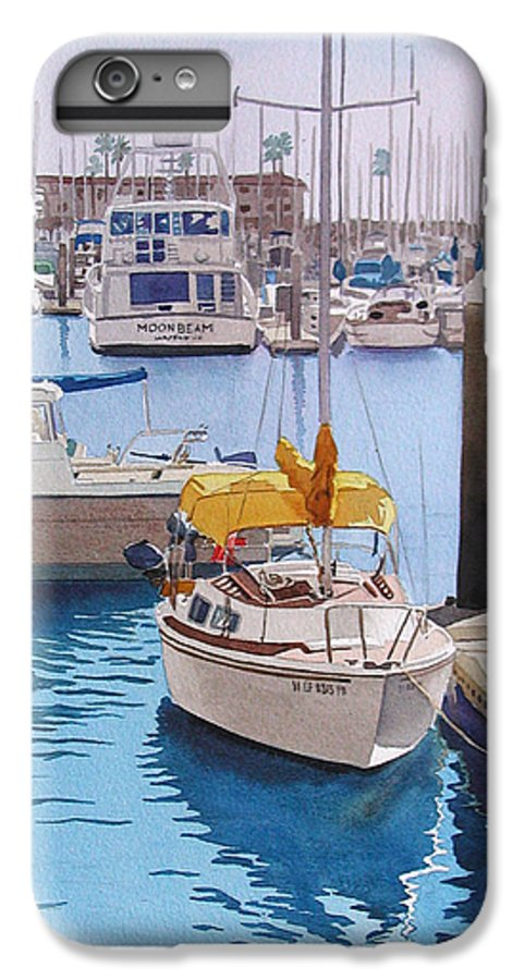 Oceanside IPhone 7 Plus Case featuring the painting Yellow Sailboat Oceanside by Mary Helmreich