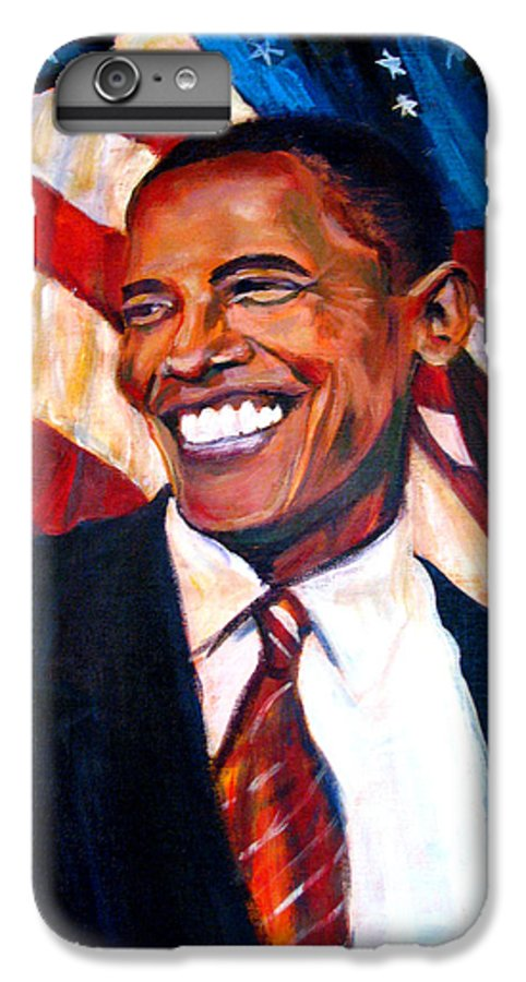Barack IPhone 7 Plus Case featuring the painting Yes We Can by Art Nomad Sandra Hansen