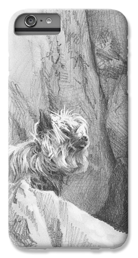 <a Href=http://miketheuer.com Target =_blank>www.miketheuer.com</a> Yorkie Dog On A Cliff Pencil Portrait IPhone 7 Plus Case featuring the drawing Yorkie Dog On A Cliff Pencil Portrait by Mike Theuer