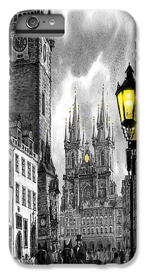 Geelee.watercolour Paper IPhone 7 Plus Case featuring the painting Bw Prague Old Town Squere by Yuriy Shevchuk