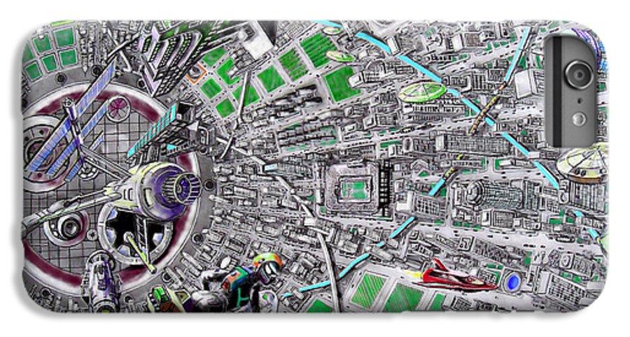 Landscape IPhone 7 Plus Case featuring the drawing Inside Orbital City by Murphy Elliott
