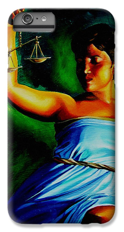 Colorful IPhone 7 Plus Case featuring the painting Lady Justice by Laura Pierre-Louis