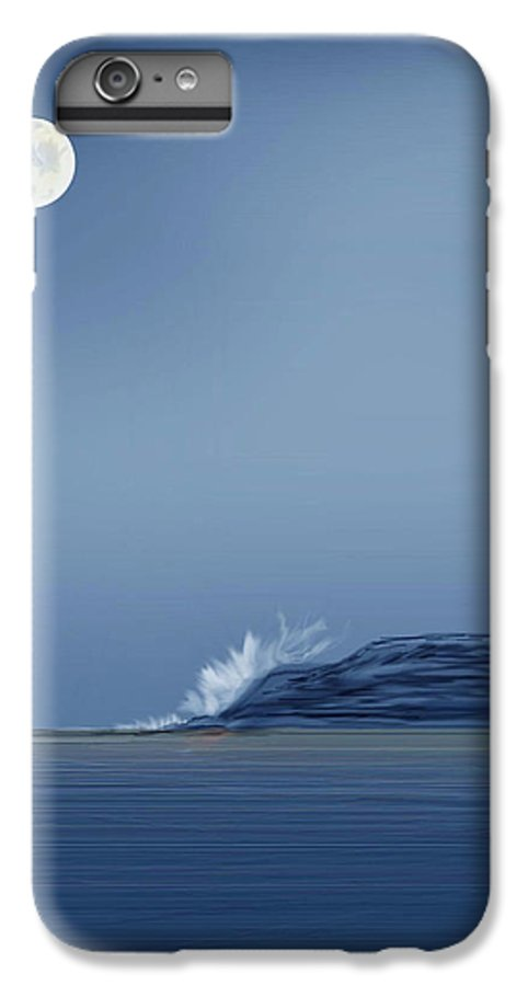 Seascape IPhone 7 Plus Case featuring the painting Looking At The Moon by Anne Norskog