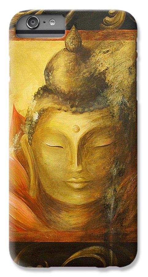 Buddha Buddhist Spiritual Yoga Lotus Meditation IPhone 7 Plus Case featuring the painting Transcendence by Dina Dargo