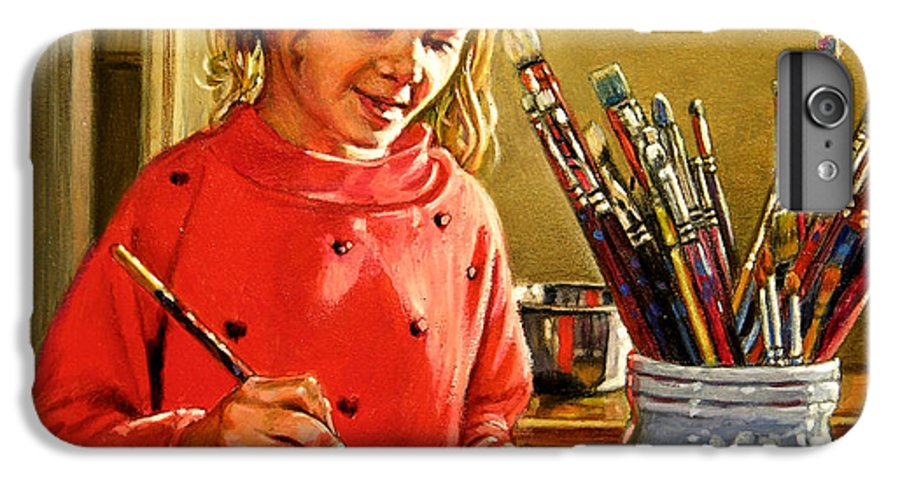 Young Girl Painting IPhone 7 Plus Case featuring the painting Young Artist by John Lautermilch