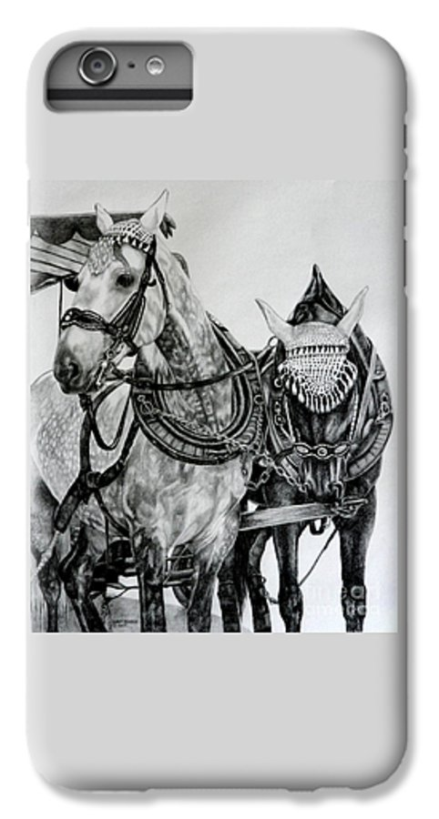 Horse Pencil Black White Germany Rothenburg IPhone 7 Plus Case featuring the drawing 2 Horses Of Rothenburg 2000usd by Karen Bowden