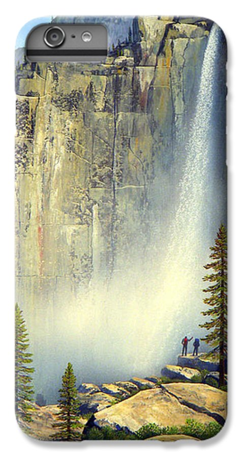 Landscape IPhone 7 Plus Case featuring the painting Misty Falls by Frank Wilson
