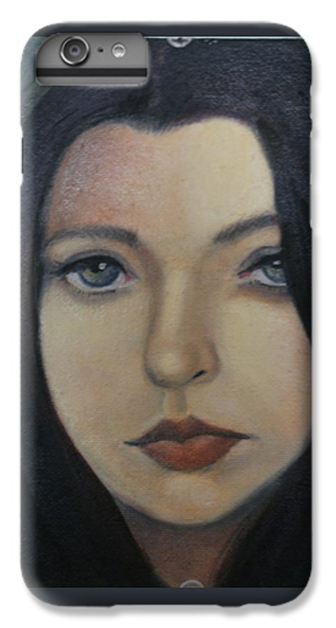 Girl IPhone 7 Plus Case featuring the painting That Stare by Toni Berry