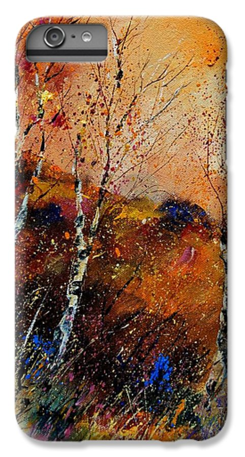 River IPhone 7 Plus Case featuring the painting 3 Poplars by Pol Ledent