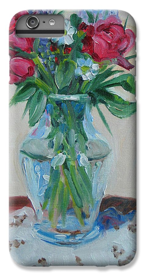 Roses IPhone 7 Plus Case featuring the painting 3 Roses by Paul Walsh