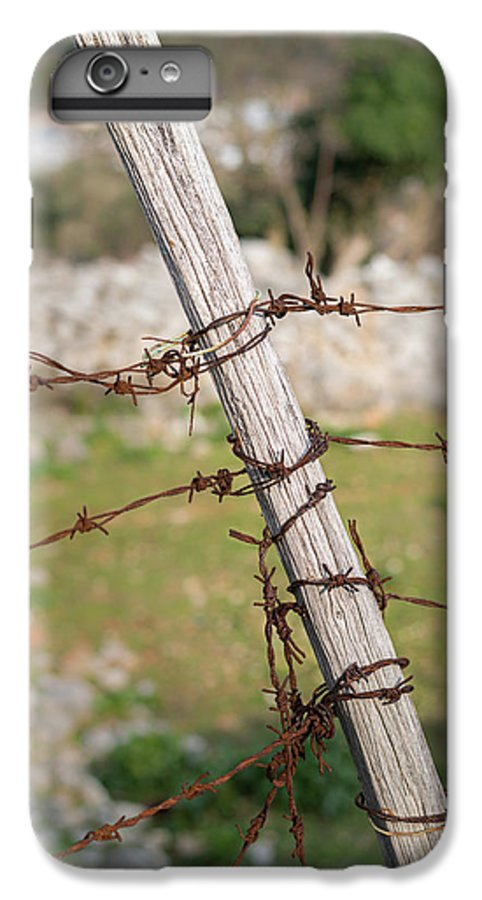 Rusty Barbed Wire And Wooden Pole Of A Fence Near Cres IPhone 7 Plus Case