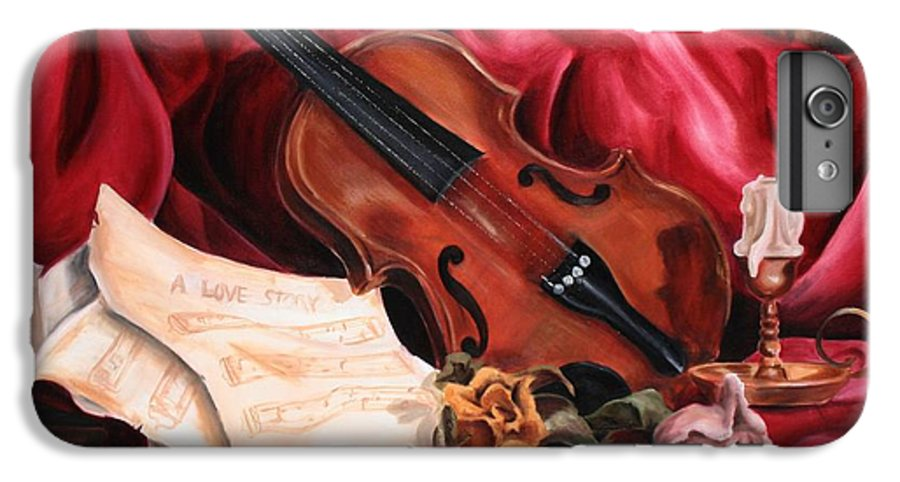 Violin IPhone 7 Plus Case featuring the painting A Love Story by Maryn Crawford