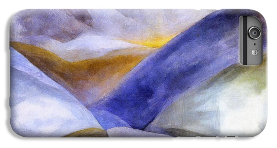 Blue IPhone 7 Plus Case featuring the painting Abstract Mountain Landscape by Michelle Calkins