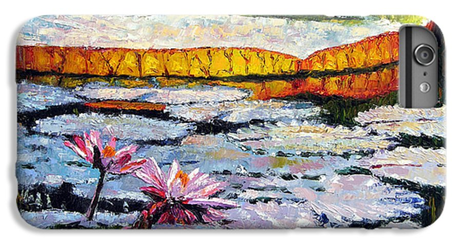 Water Lilies IPhone 7 Plus Case featuring the painting Afternoon Shadows by John Lautermilch
