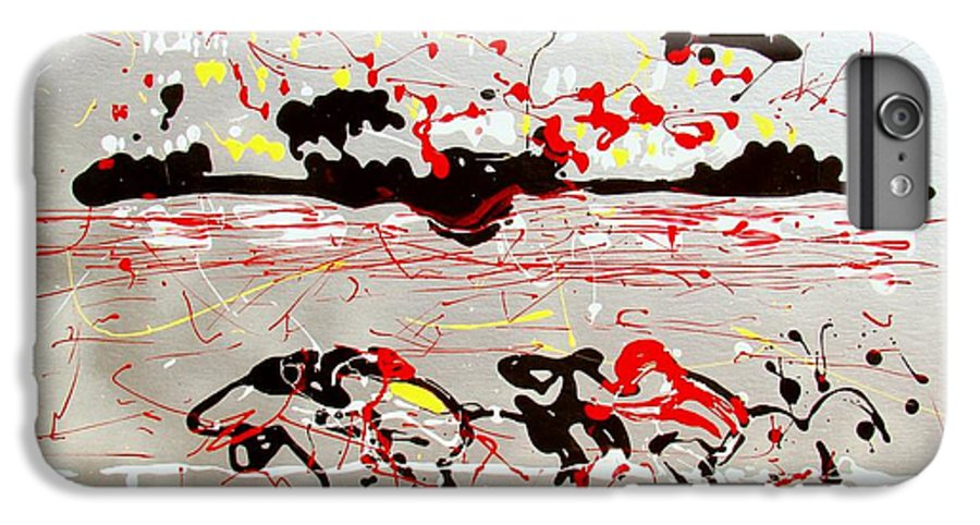 Abstract IPhone 7 Plus Case featuring the mixed media And Down The Stretch They Come by J R Seymour