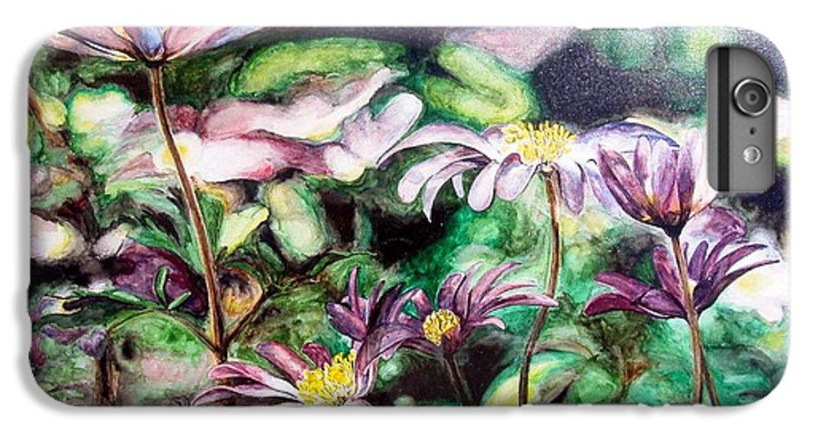 Floral Painting IPhone 7 Plus Case featuring the painting Anemones Japonaises by Muriel Dolemieux