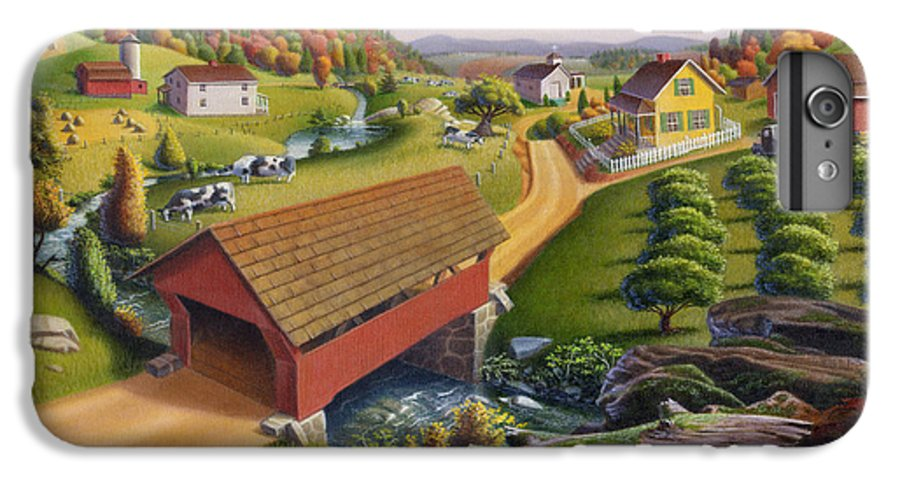 Covered Bridge IPhone 7 Plus Case featuring the painting Folk Art Covered Bridge Appalachian Country Farm Summer Landscape - Appalachia - Rural Americana by Walt Curlee