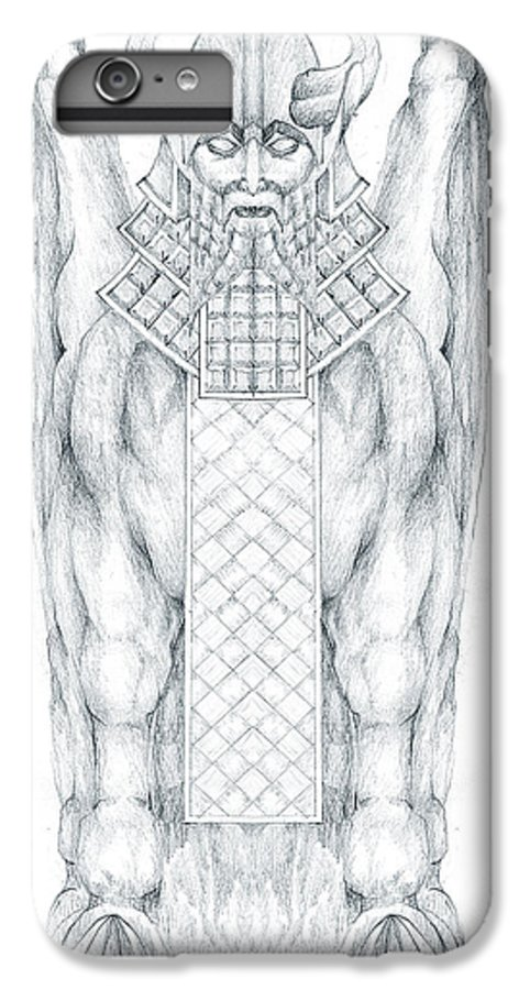 Babylonian IPhone 7 Plus Case featuring the drawing Babylonian Sphinx Lamassu by Curtiss Shaffer