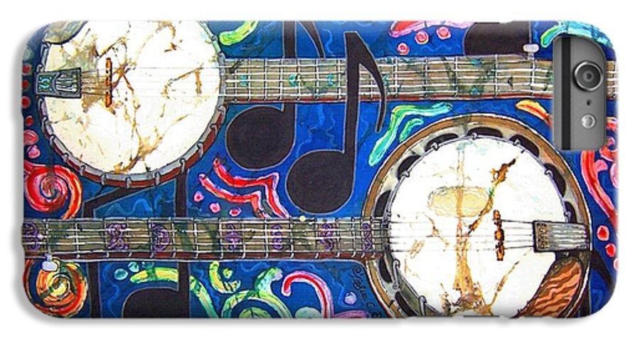 Banjo IPhone 7 Plus Case featuring the painting Banjos - Bordered by Sue Duda
