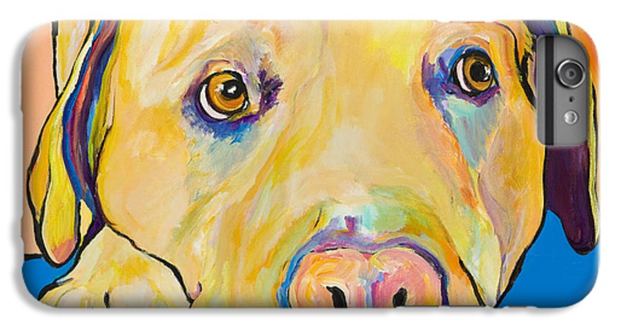 Dog Paintings Yellow Lab Puppy Colorful Animals Pets IPhone 7 Plus Case featuring the painting Bath Time by Pat Saunders-White