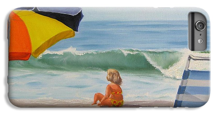 Seascape IPhone 7 Plus Case featuring the painting Beach Scene - Childhood by Lea Novak
