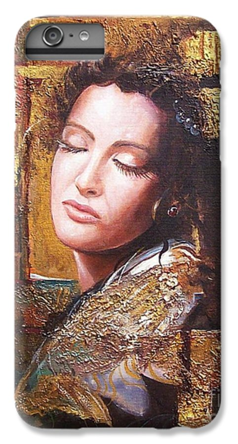 Female Portrait IPhone 7 Plus Case featuring the painting Because You Are Beautiful by Sinisa Saratlic