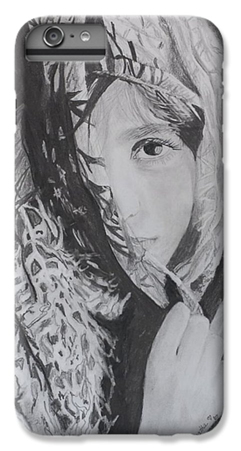 Graphite IPhone 7 Plus Case featuring the drawing Behind The Veil by Quwatha Valentine
