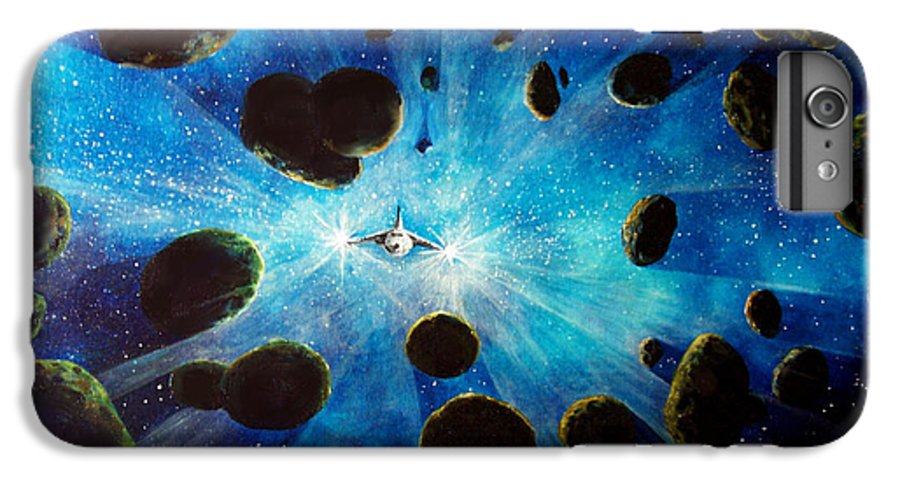 Asteroid Field. Astro IPhone 7 Plus Case featuring the painting Better Go Around by Murphy Elliott