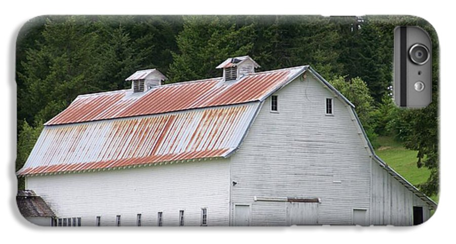 White IPhone 7 Plus Case featuring the photograph Big White Old Barn With Rusty Roof Washington State by Laurie Kidd