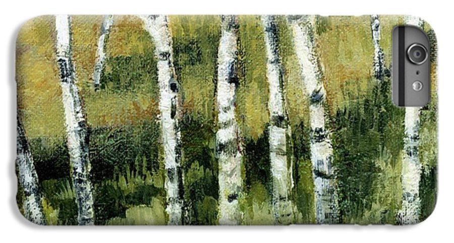 Trees IPhone 7 Plus Case featuring the painting Birches On A Hill by Michelle Calkins