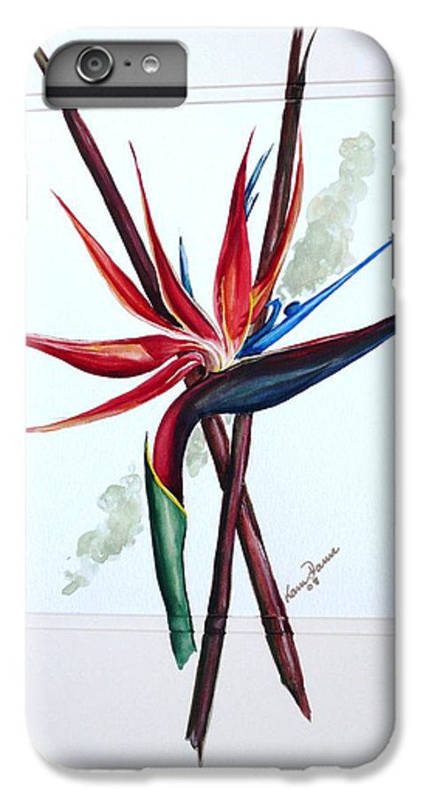 Floral Tropical Caribbean Flower IPhone 7 Plus Case featuring the painting Bird Of Paradise Lily by Karin Dawn Kelshall- Best