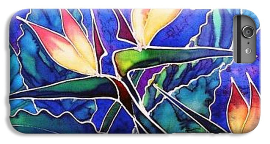 Silk Painting IPhone 7 Plus Case featuring the painting Birds Of Paradise II by Francine Dufour Jones