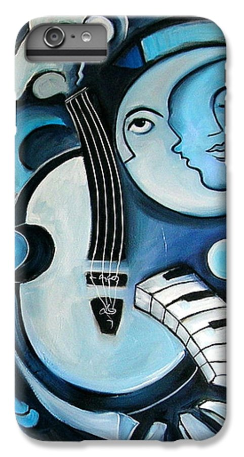 Abstract IPhone 7 Plus Case featuring the painting Black And Bleu by Valerie Vescovi