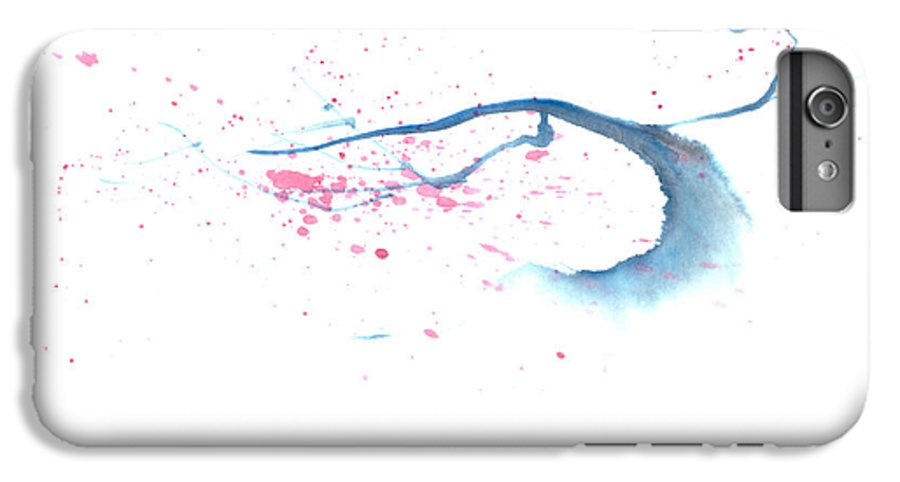 A Flowering Tree Is Blowing In The Wind And Spreading Flower All Over.  This Is A Contemporary Chinese Ink And Color On Rice Paper Painting With Simple Zen Style Brush Strokes.  IPhone 7 Plus Case featuring the painting Blowing In The Wind I by Mui-Joo Wee