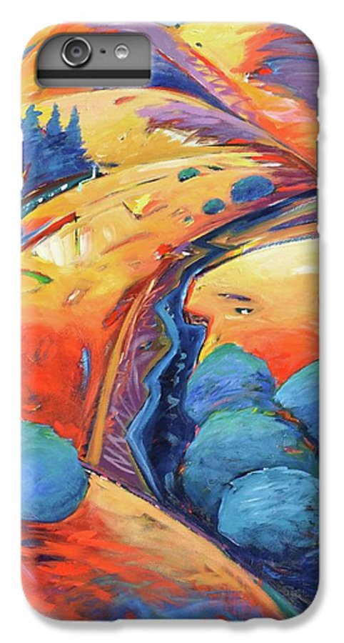 Hills IPhone 7 Plus Case featuring the painting Blue And Gold by Gary Coleman
