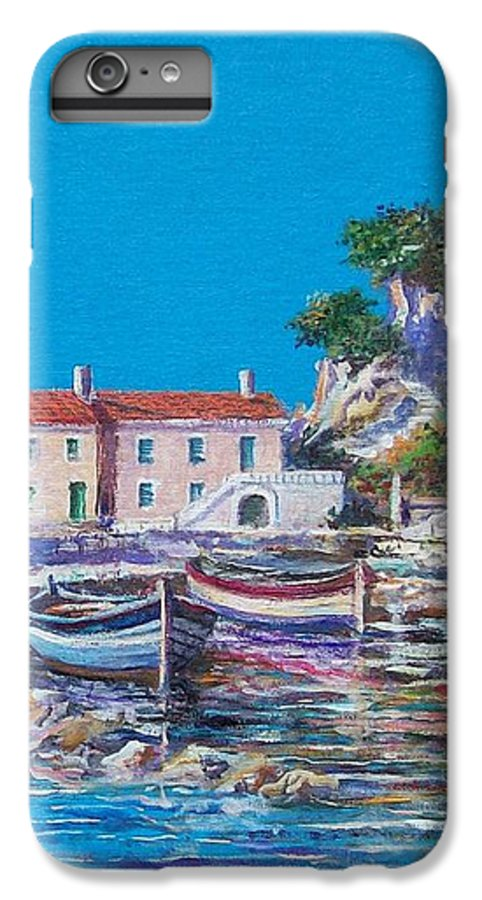 Original Painting IPhone 7 Plus Case featuring the painting Blue Bay by Sinisa Saratlic