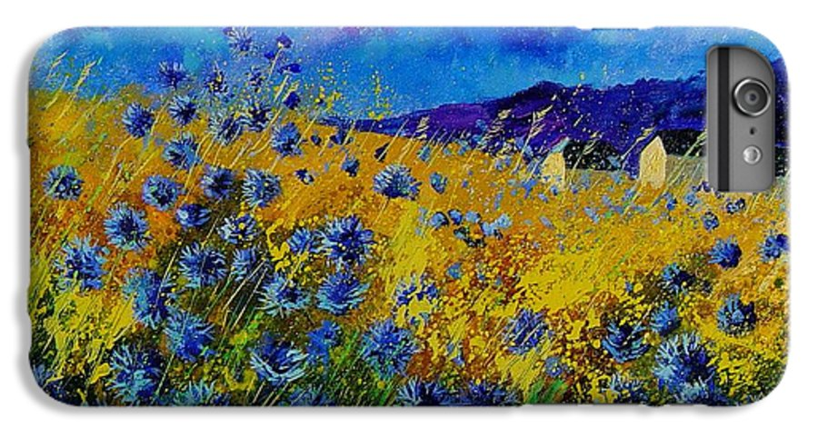 Poppies IPhone 7 Plus Case featuring the painting Blue Cornflowers by Pol Ledent