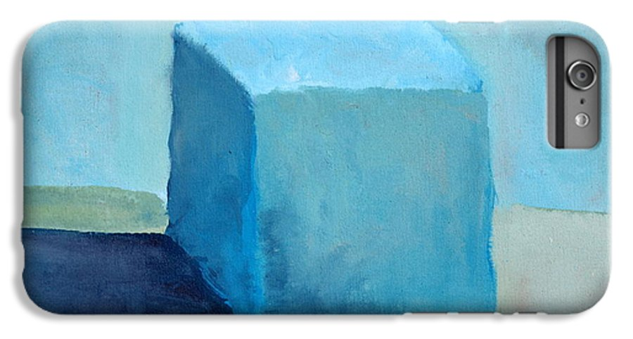 Blue IPhone 7 Plus Case featuring the painting Blue Cube Still Life by Michelle Calkins