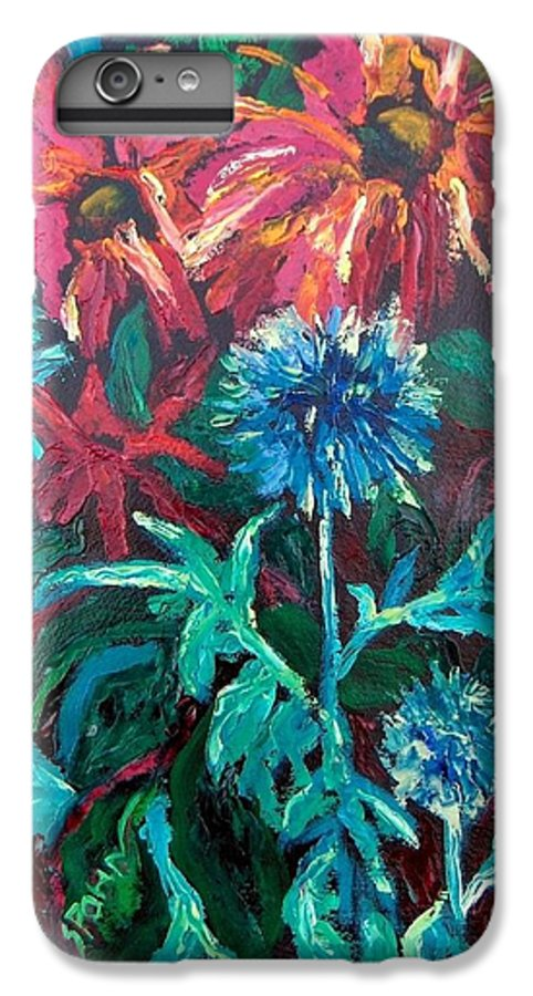 Red IPhone 7 Plus Case featuring the painting Blue Thistle And Bee Balm by Susan Spohn
