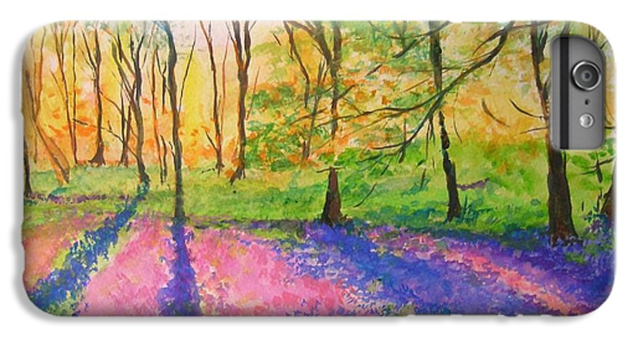 Landscape IPhone 7 Plus Case featuring the painting Bluebell Wood by Lizzy Forrester